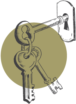 keys in lock illustration